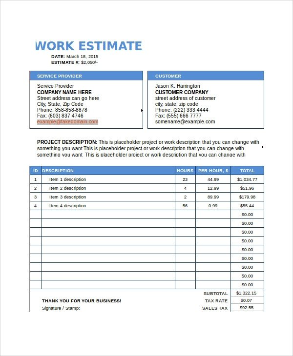 Free Estimate Template Word Sample Work Estimate Templates 7 Free Documents