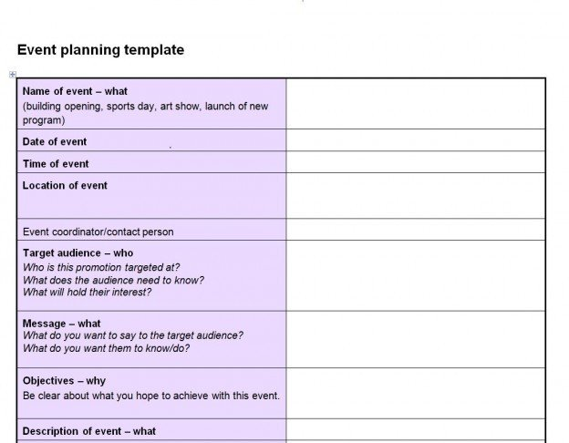 Free event Planning Templates event Planning Checklist Template