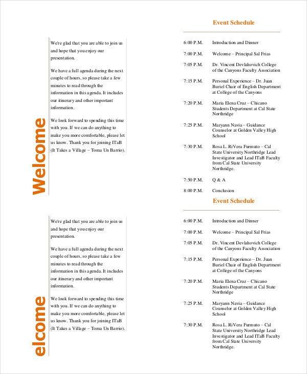 Free event Program Templates event Program Template