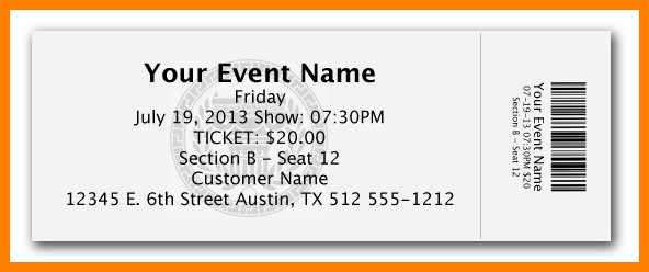 Free event Ticket Template 10 Free Ticket Template