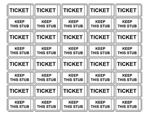 Free event Ticket Template Printable Admission Tickets without Numbers