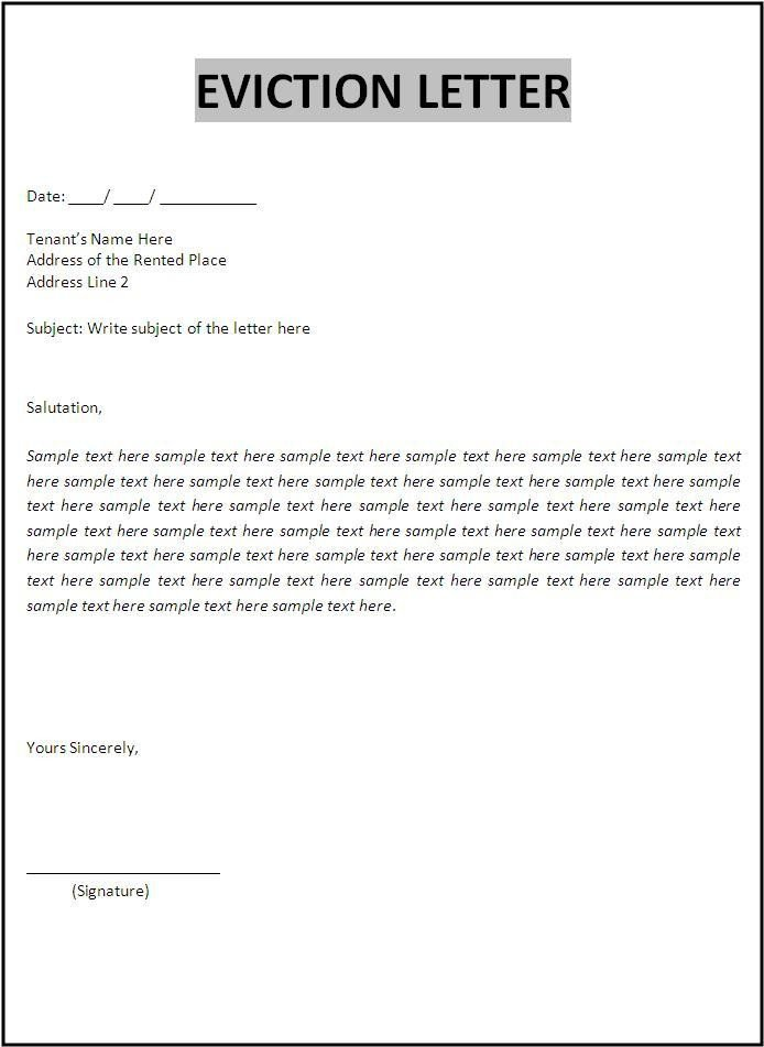 Free Eviction Notice Template Eviction Letter Template