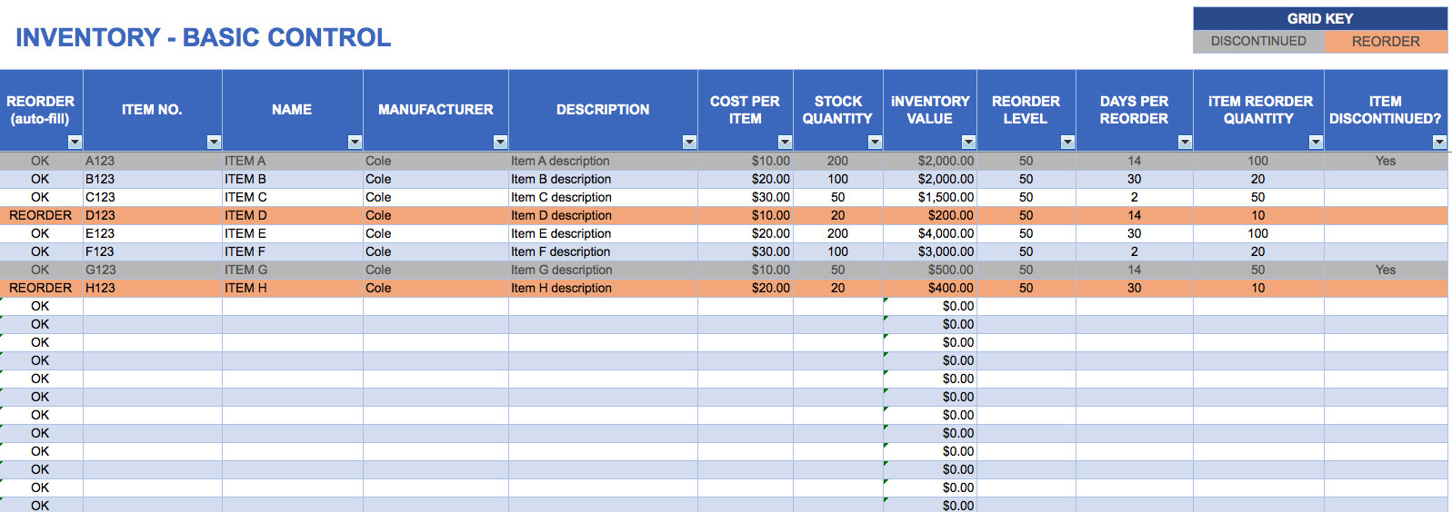 Free Excel Inventory Template Free Excel Inventory Templates