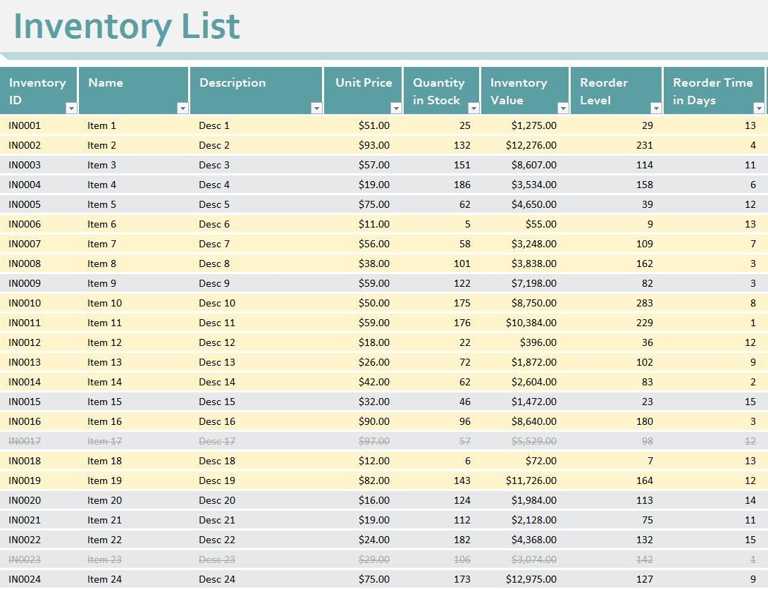 Free Excel Inventory Template Inventory Sheet Template Excel Workbook