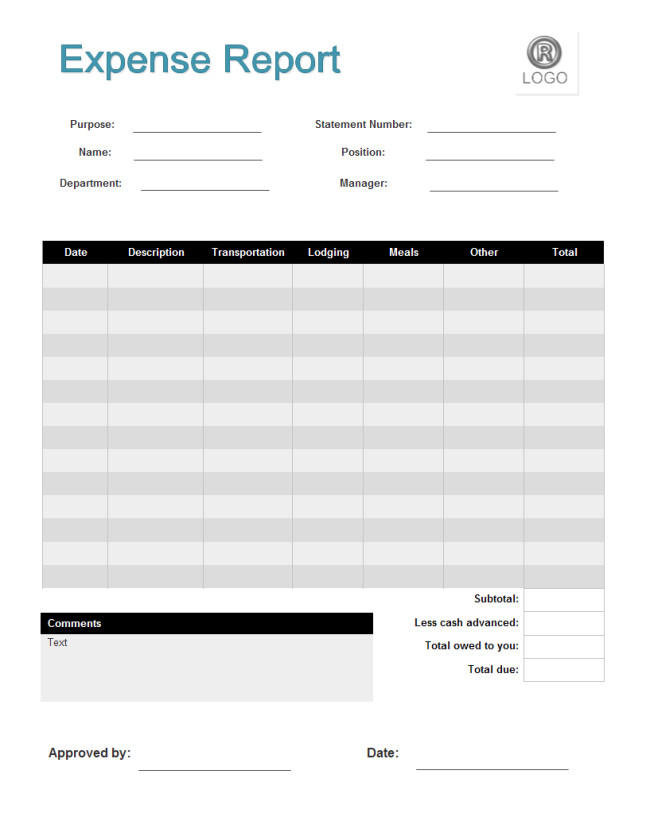 Free Expense Report Templates Expense Report form