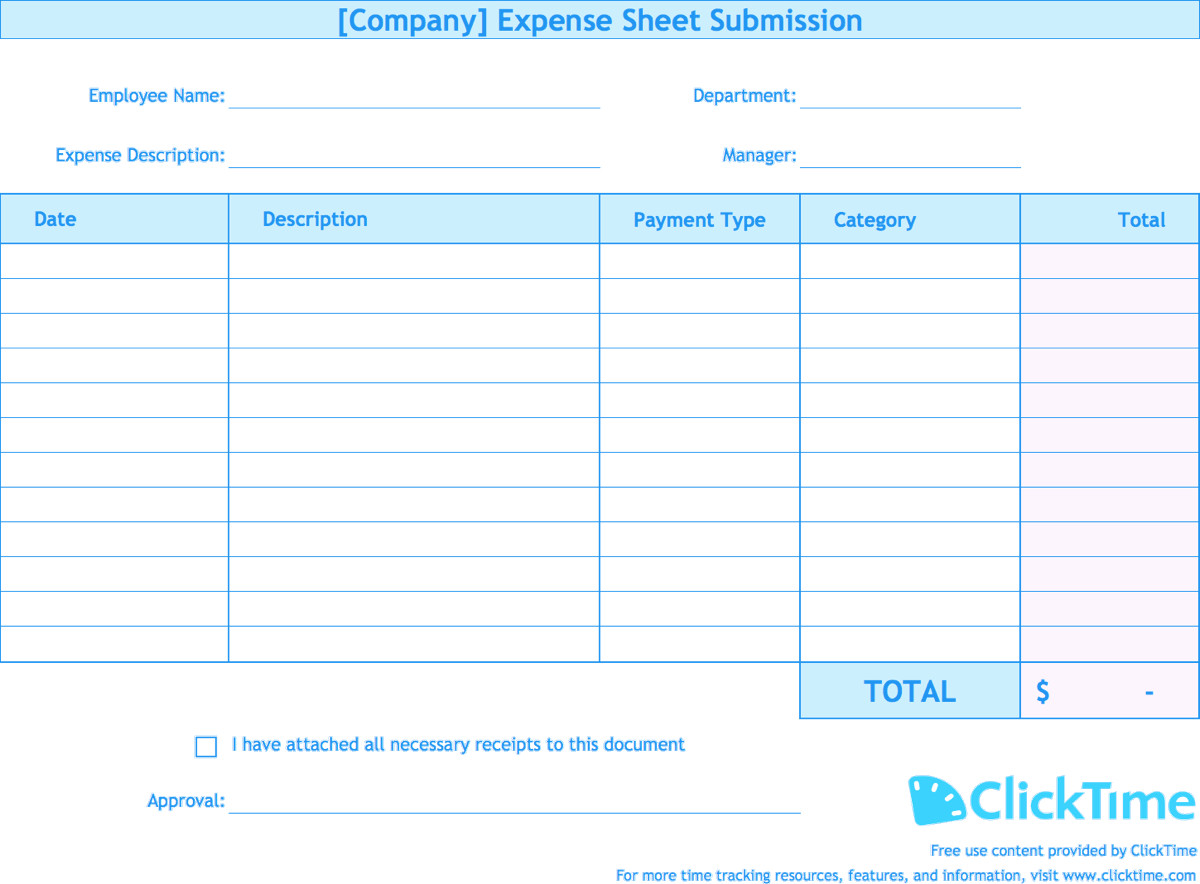 Free Expense Report Templates Expense Report Template