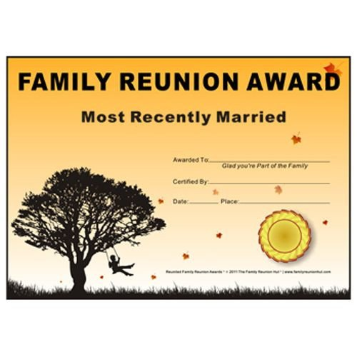 Free Family Reunion Templates Family Reunion Hut Most Recently Married Award Down