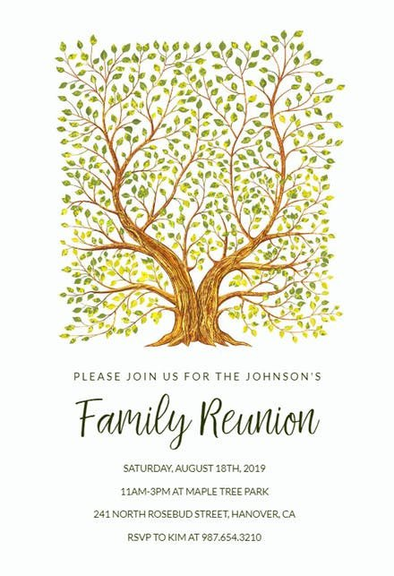Free Family Reunion Templates Family Reunion Invitation Templates Free