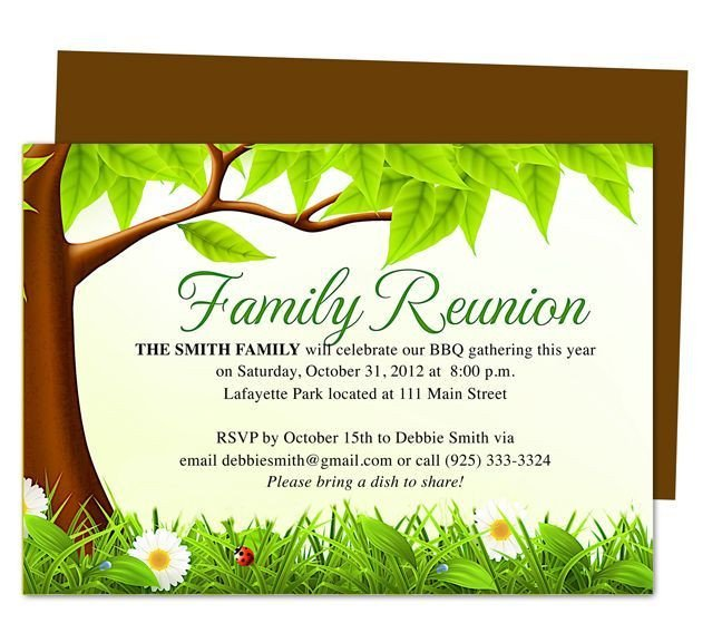 Free Family Reunion Templates Family Tree Reunion Party Invitations Templates