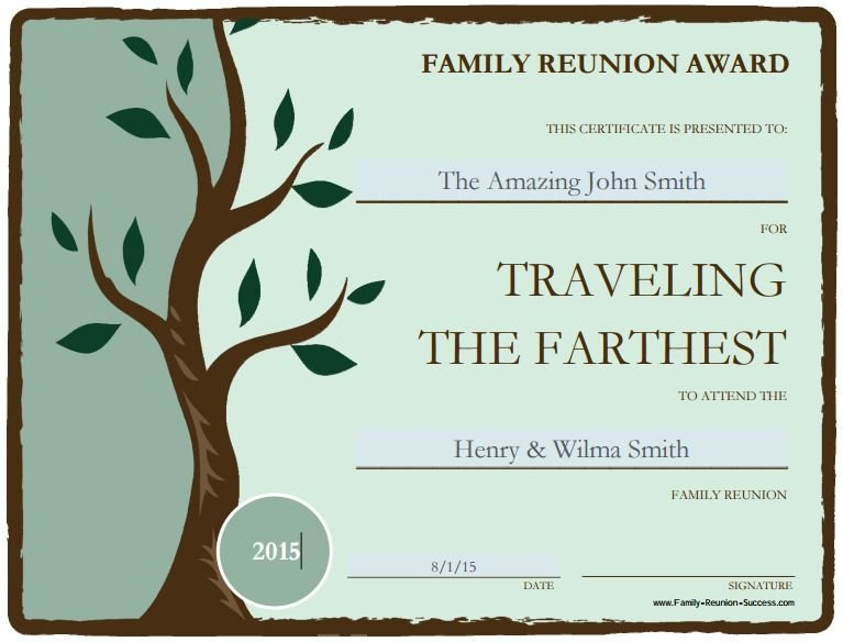 Free Family Reunion Templates Free Printable Awards for the Family Reunion