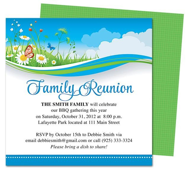 Free Family Reunion Templates Summer Breeze Family Reunion Party Invitation Templates