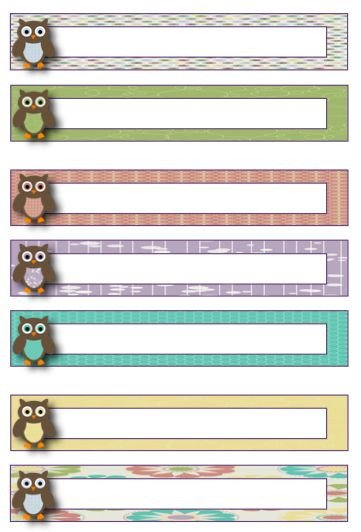Free File Folder Label Template Owl theme Blank File Folder Label Template Freebie
