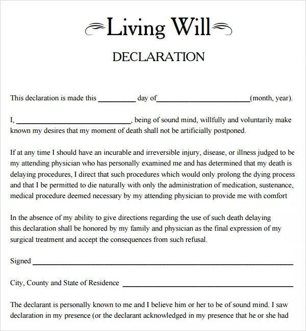 Free Florida Wills Template 9 Sample Living Wills Pdf