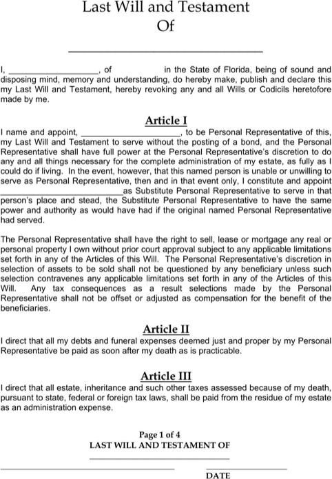 Free Florida Wills Template Florida Last Will and Testament form