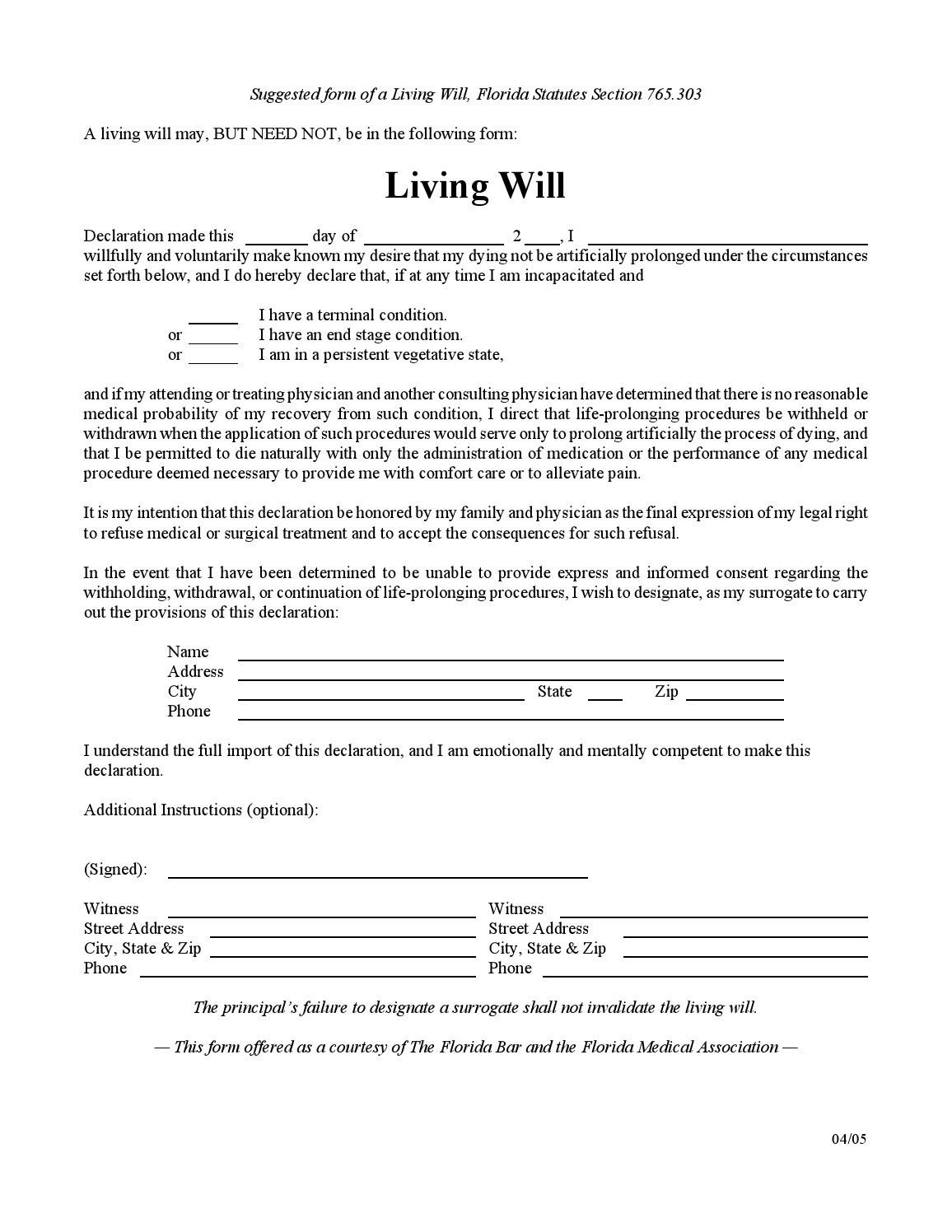 Free Florida Wills Template Florida Living Will by Wfla Newschannel8 issuu
