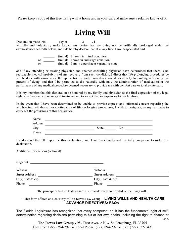 Free Florida Wills Template Free Copy Of Living Will by Richard Cataman Living Will