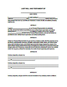 Free Florida Wills Template Last Will and Testament form Free Download Create Edit