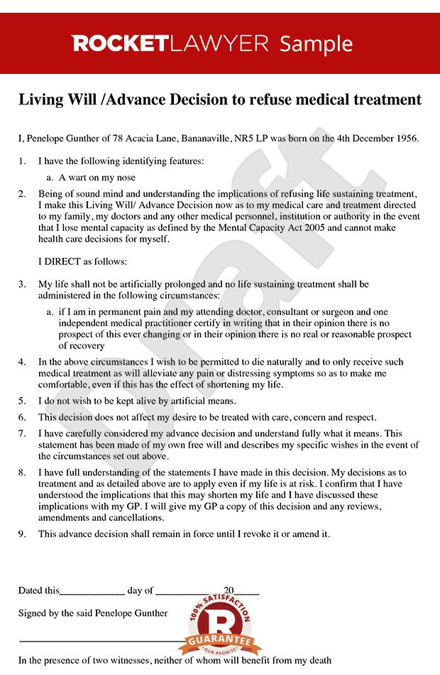 Free Florida Wills Template Living Will Advance Decision Template Living Will Sample