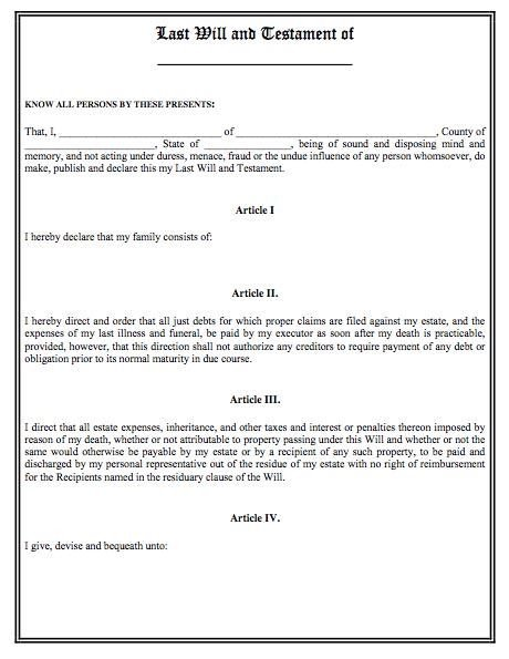 Free Florida Wills Template Printable Sample Last Will and Testament Template form