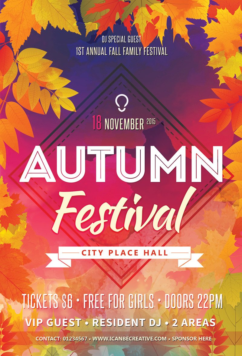Free Flyers Template Download Free Psd Flyer Templates for Autumn Сelebration Party