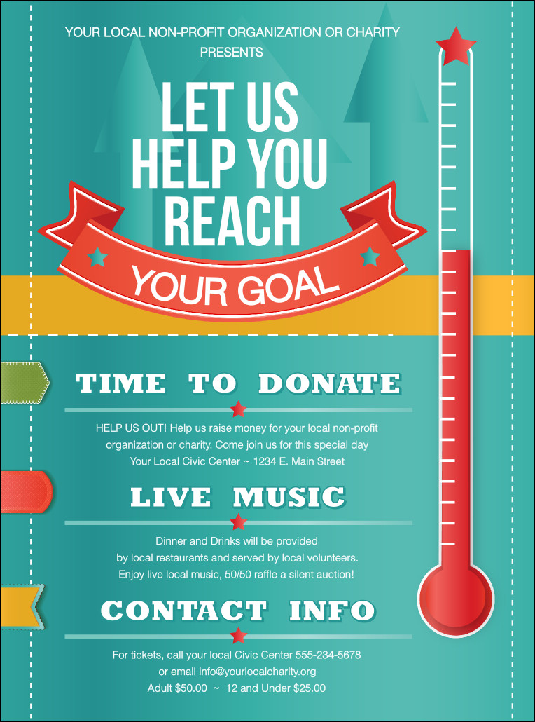 Free Fundraiser Flyer Templates Fundraising thermometer Flyer