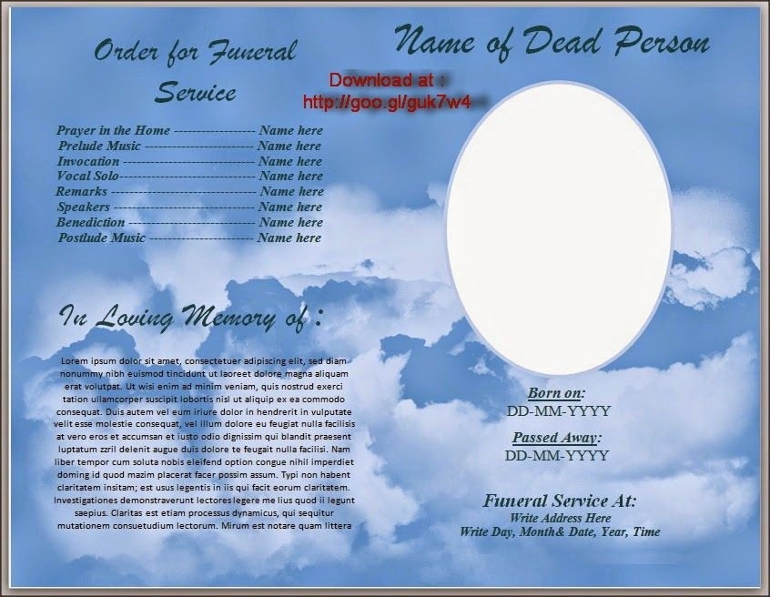 Free Funeral Program Template Word Download Free Funeral Program Template for Australia In
