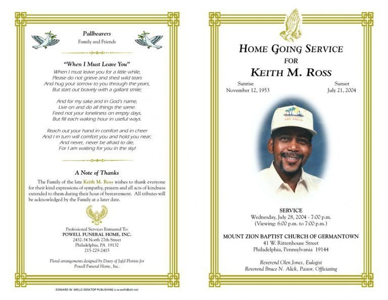 Free Funeral Program Templates Blank Funeral Program Template Best Photos Of Free Funeral