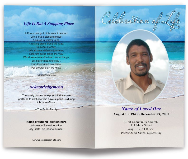 Free Funeral Programs Template Download Free Editable Funeral Program Template