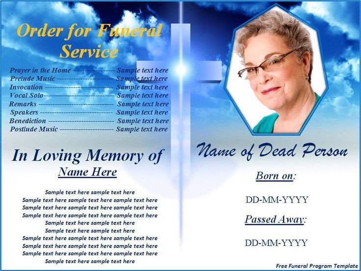 Free Funeral Programs Template Download Free Funeral Program Templates