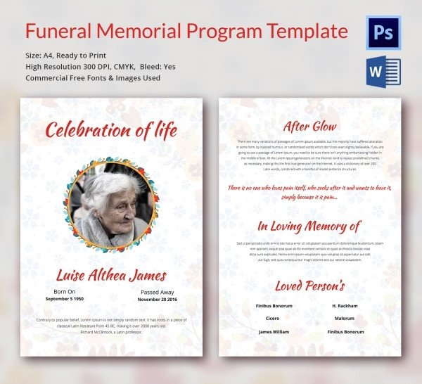 Free Funeral Programs Template Download Funeral Program Template 16 Word Psd Document Download