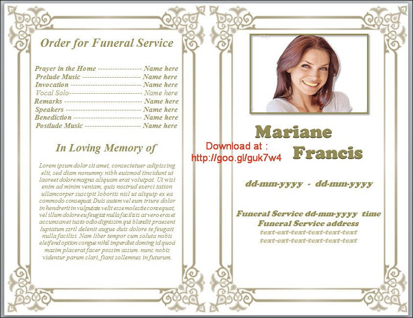 Free Funeral Programs Template Download Printable Funeral Program Template Free Download by