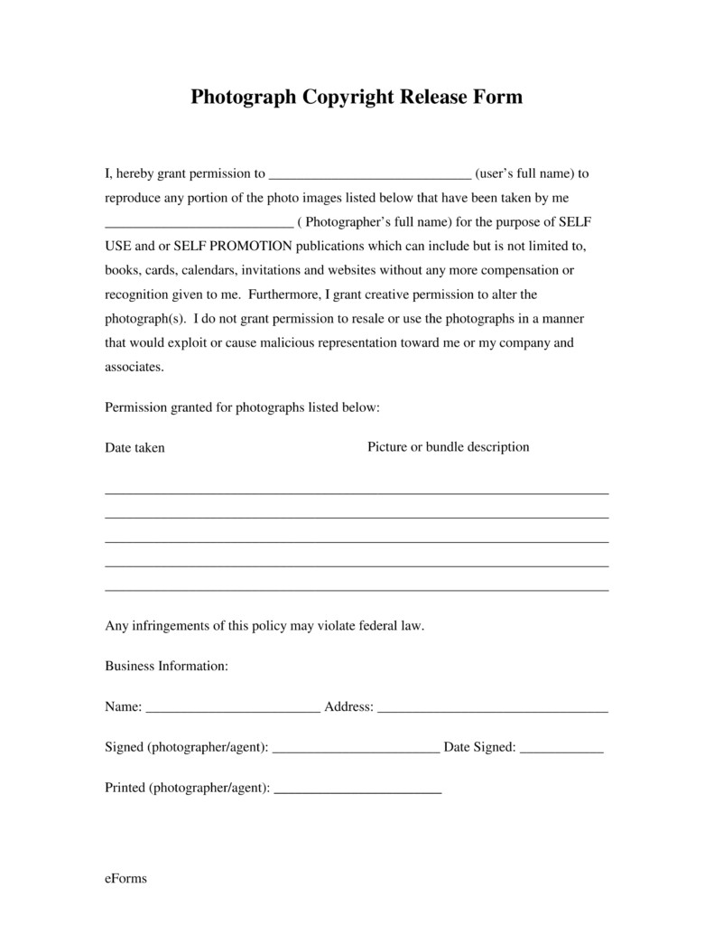 Free General Release form Template Free Generic Copyright Release form Pdf