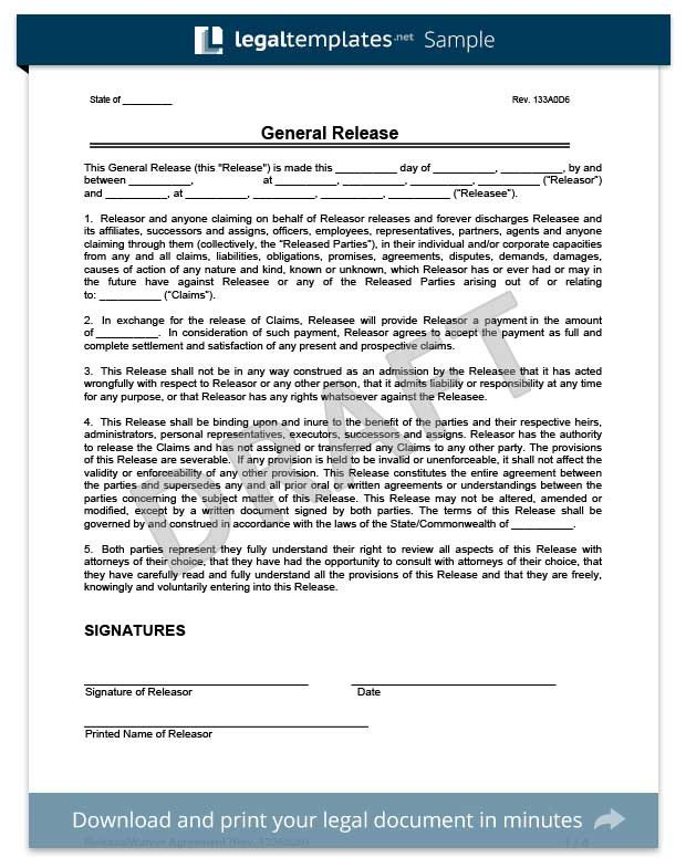 Free General Release form Template Free Release Of Liability form