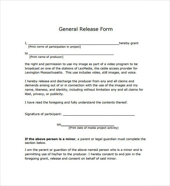 Free General Release form Template General Release form 7 Free Samples Examples & formats