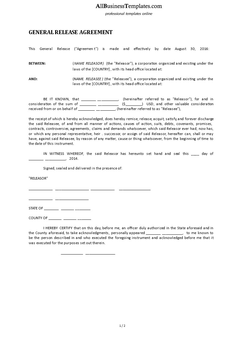 Free General Release form Template General Release form