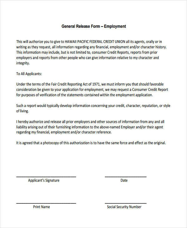 Free General Release form Template General Release Information form