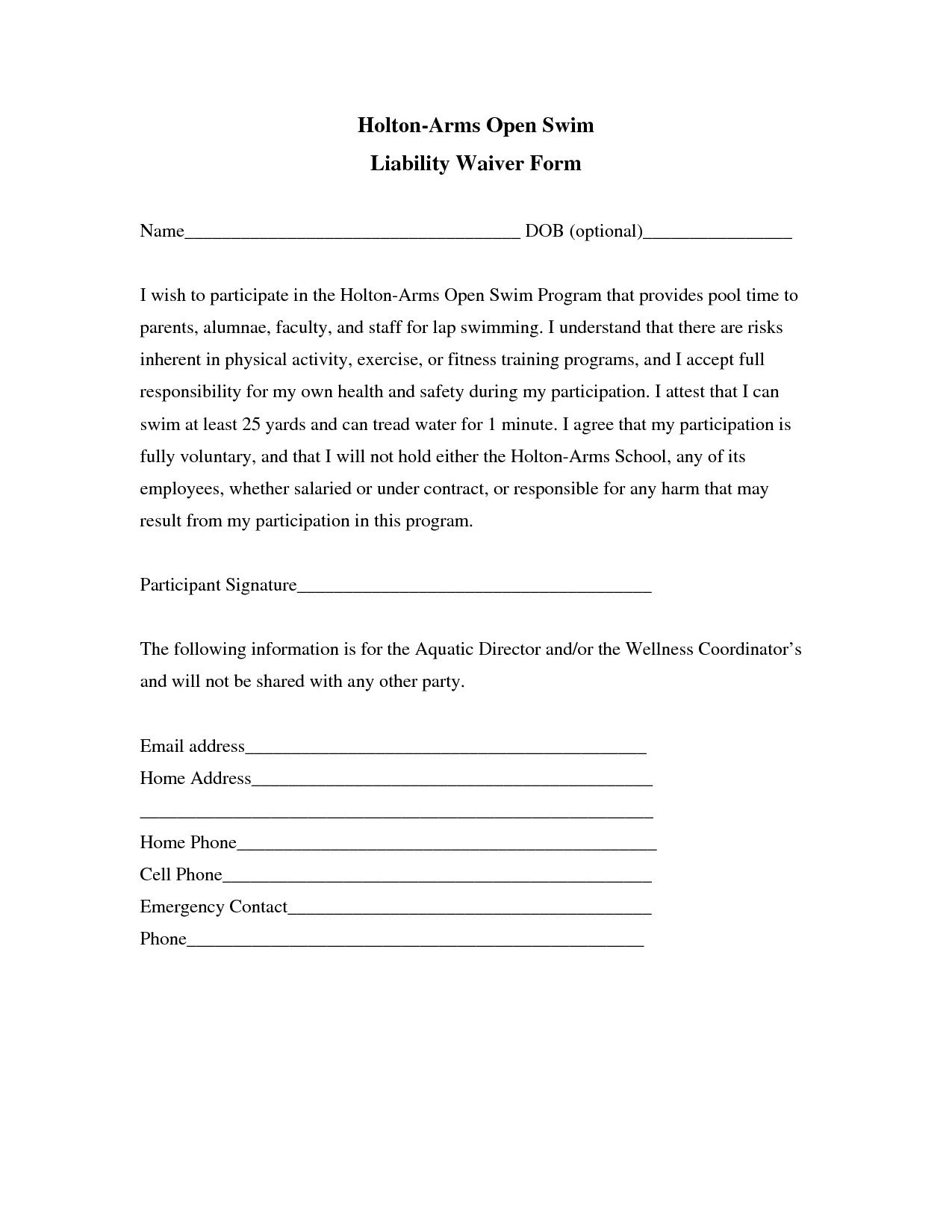 Free General Release form Template Liability Insurance Liability Insurance Waiver Template