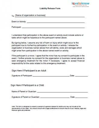 Free General Release form Template Printable Sample Release and Waiver Liability Agreement