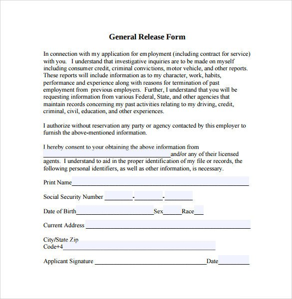 Free General Release form Template Sample General Release form 10 Download Free Documents
