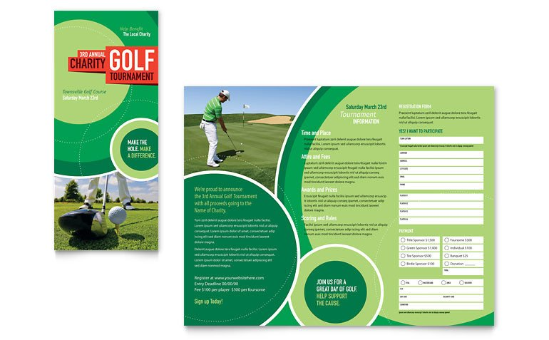 Free Golf Flyer Template Golf tournament Tri Fold Brochure Template Word & Publisher