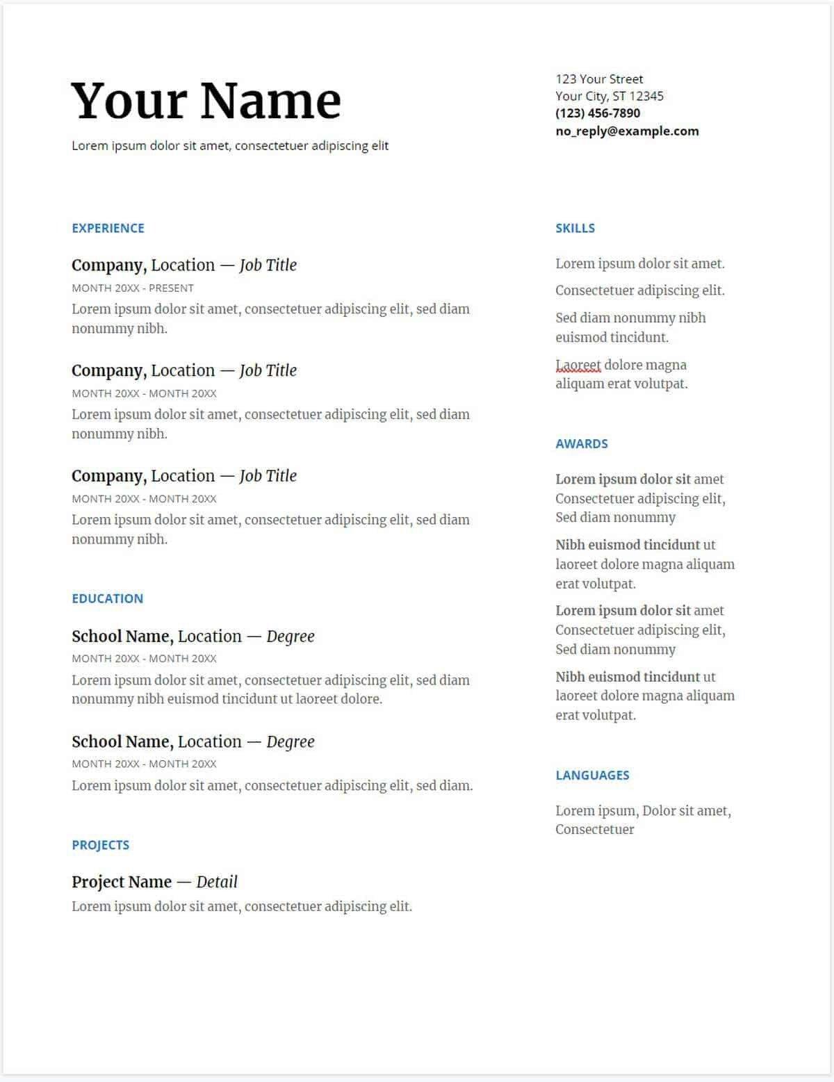 Free Google Docs Templates 30 Google Docs Resume Templates [downloadable Pdfs]