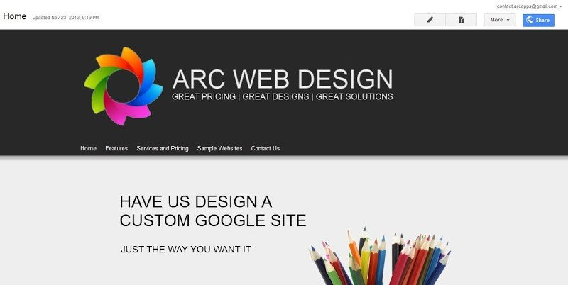 Free Google Sites Templates Change the Banner Arc Templates Google Sites Templates