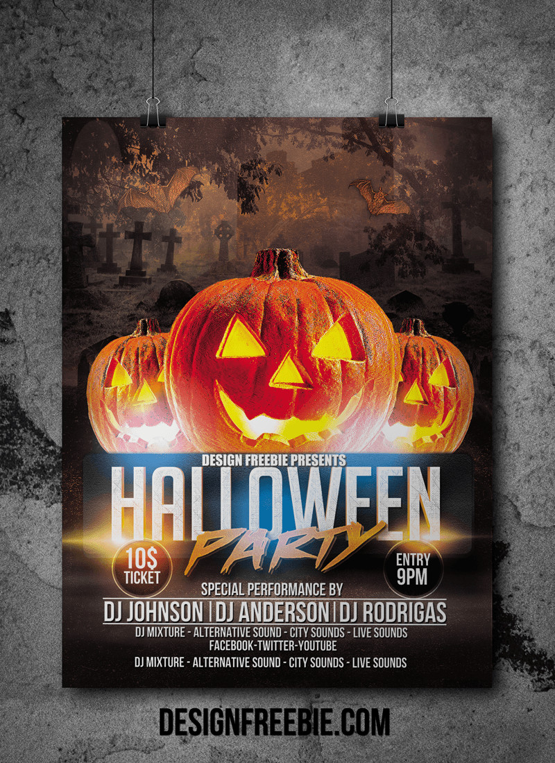 Free Halloween Flyer Templates Halloween Party Flyer Psd Template