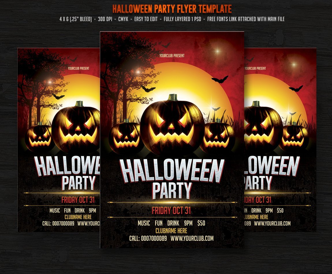 Free Halloween Flyer Templates Halloween Party Flyer Templates Creative Market