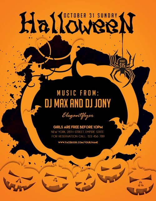 Free Halloween Flyer Templates Halloween Party Freebie Flyer Template Download for