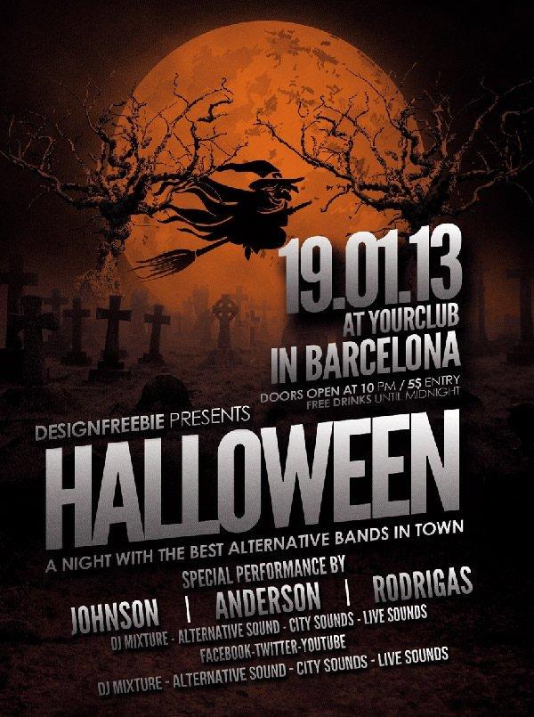 Free Halloween Flyers Templates 16 Free Psd Halloween Party Flyer Designs Jpg Vector