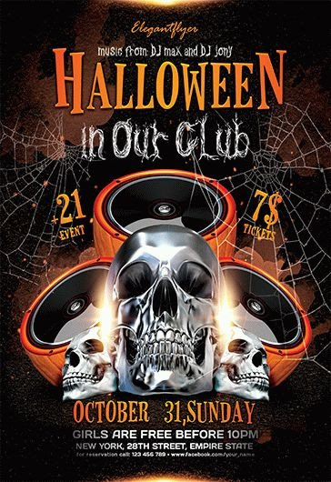 Free Halloween Flyers Templates Halloween Party – Free Flyer Psd Template – by Elegantflyer