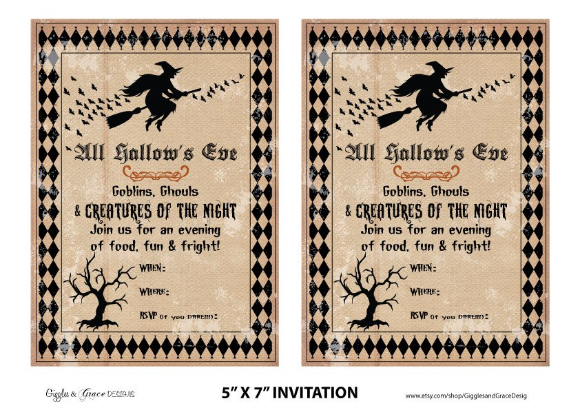 Free Halloween Invitations Templates Printable Free Halloween Party Printables From Giggles & Grace