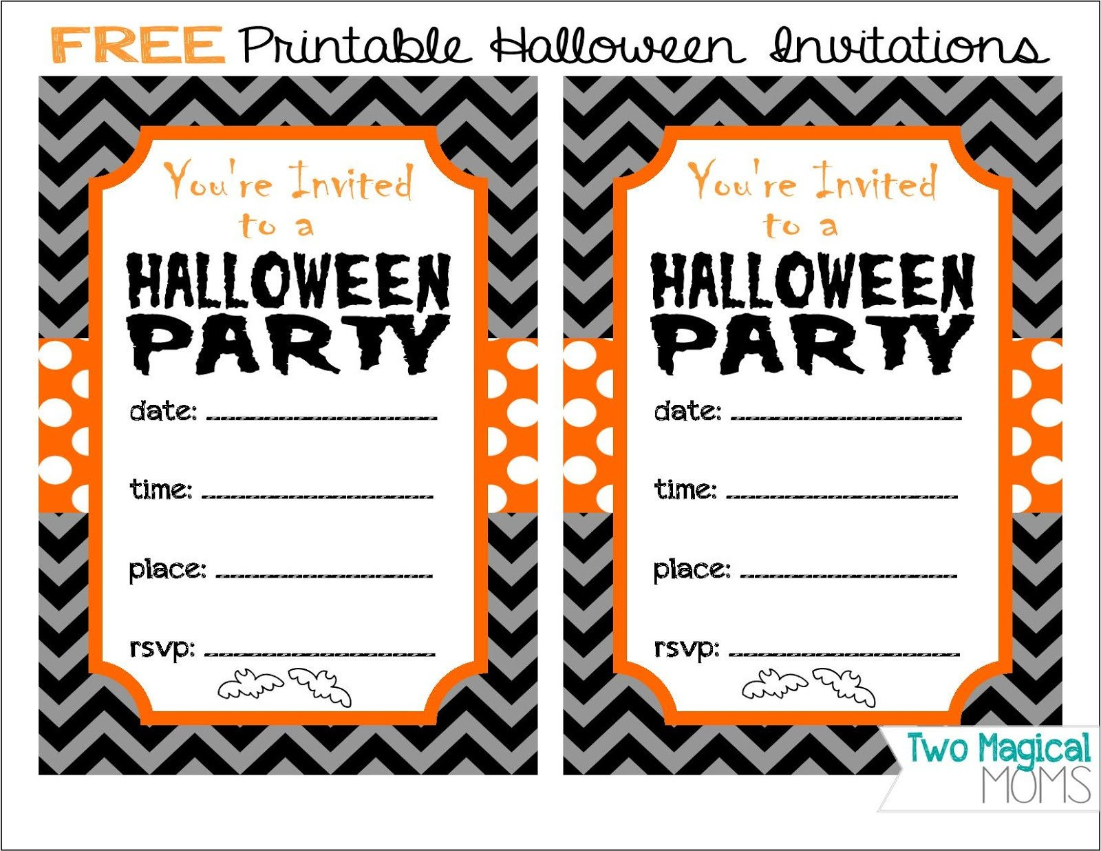Free Halloween Invitations Templates Printable Two Magical Moms Free Printable Halloween Invitations