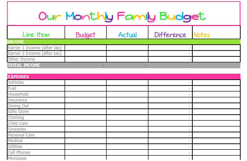 Free Household Budget Template Free Monthly Bud Template Cute Design In Excel
